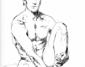 """He Sat with His Thoughts- Male Nude Figure - 9 x 12"""" ink on paper - original drawing by Brenden Sanborn"""