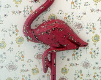 Flamingo Cast Iron Wall Hook Shabby Chic Hot Pink Rustic Beach Decor