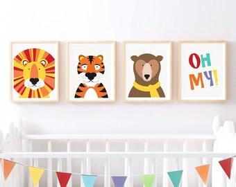 nursery art print set lions tigers bears oh my print - wild animal art set, animal nursery decor, colourful set of prints for baby's room