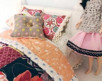 Blythe Bedding - quilt, pillows, embroidery, bed skirt, mattress - doll bedding - Moody Fuschia Patchwork Set