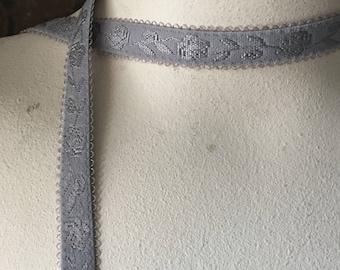 5 yds GRAY Bra Strap Elastic Jacquard for Garters, Straps, Lingerie  STR 1301