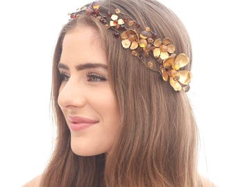 Fall Wedding Gold and Wine Beaded Flower Crown with Gold Metal Flowers, Beaded Boho Rustic Wedding Headband Golden Halo Photo Shoot Prop