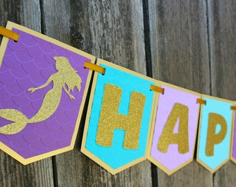 Mermaid Birthday Banner - Customize and add a name - Under the Sea, Let's be Mermaids