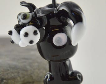 TALK to the tail - Cat whimiscal focal glass lampwork bead, collectible dog bead, Izzybeads SRA