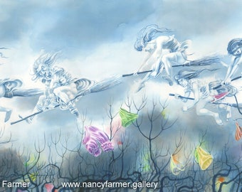 "Original fantasy art painting ""Maiden Flight"" - witches and witches knickers! Painting by Nancy Farmer"