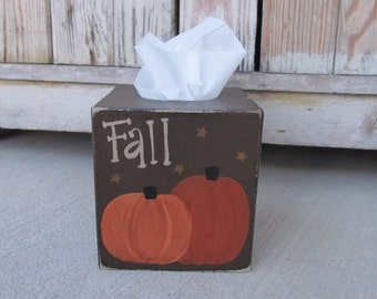 Primitive Fall Pumpkins Hand Painted Tissue Box Cover with Color Choices GCC6653