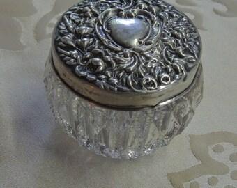 Sterling Silver Dresser Jar - cream jar - rouge pot - Victorian Dresser Jar