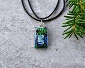 Shades of Green and Good Tidings Dichroic Glass Pendant...