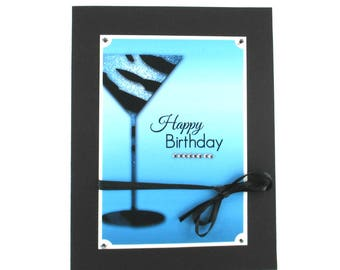 Birthday cards for her, martini cocktail, champagne, Birthday wishes, Happy Birthday, 21st birthday, 30th birthday, 50th birthday