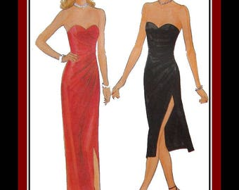 Vintage 1981-BOMBSHELL EVENING GOWN-Cocktail Dress-Vogue Sewing Pattern-Plunging Sweetheart Neckline-Side Ruche-Sexy Side Slit-Size 10-Rare