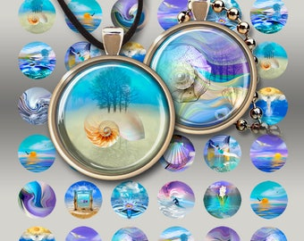 1 inch (25mm) and 1.5 inch circle images WATERLOO Digital Collage Sheets printable downloads for pendants magnets bottle caps bezels ArtCult
