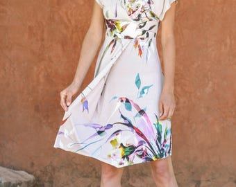 Wrap dress  size XS  / Empire waist dress / summer dress / print dress / bat sleeve midi dress / v- neck dress/