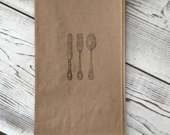 Utensil bags - Utensil Party ba - Kraft Cutlery bag - Wedding - Candy Bar - Kraft Cutlery Holder - Candy Bar Buffet - Stamped Silverware bag