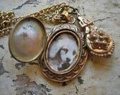 Antique photo locket necklace, Antique photo locket, Antique Victorian locket, Antique necklace with locket and pendant, Antique locket