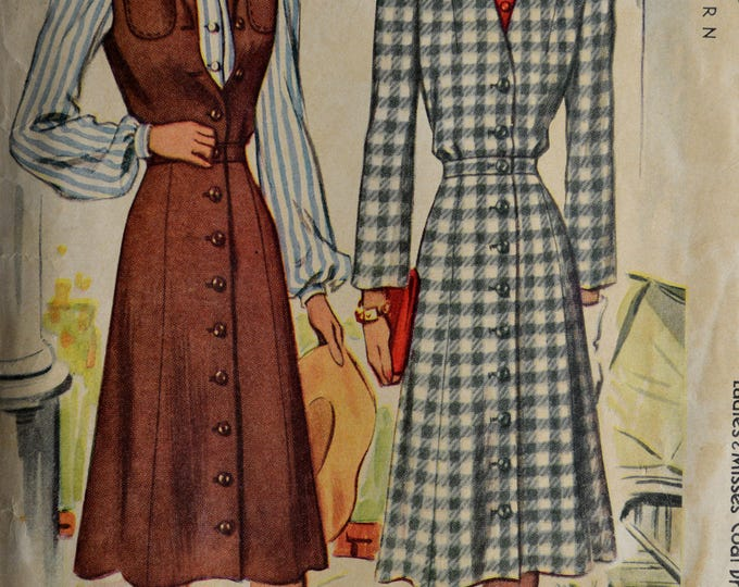 1940s McCall Dress Pattern, Copyright 1941, Blouse Pattern, Coat Dress Pattern,Womens Dress Pattern, Vintage Dress Pattern,Pattern, No 4030