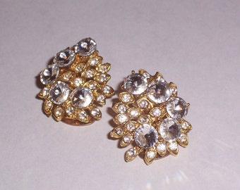 Vintage Clip On Earrings with Rhinestones