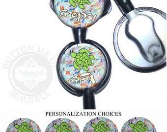 "1 1/2"" Design Stethoscope ID Tag - Personalized Green Turtle Nurse Littmann Identification (A446)"