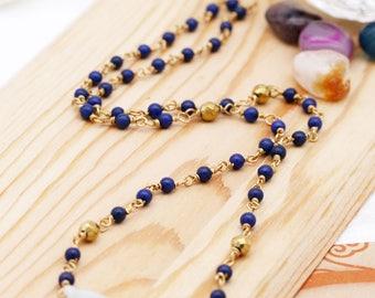 Jadeite lotus root unisex necklace - lapis, hematite, and jadeite