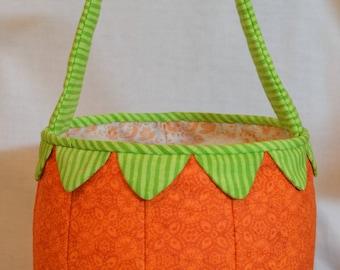 Fabric Basket PDF Sewing Pattern Tutorial ... pumpkin basket, jack-o-lantern basket, easter basket