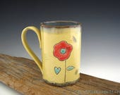 Summer Flower and Ladybugs Mug in Yellow and Turquoise - Pottery Mug - Large Coffee Mug - by DirtKicker Pottery