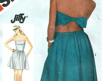 Vintage 80s Simplicity 6323 UNCUT Misses Pullon Strapless Tie-Back Sundress Sewing Pattern Size 8-12 Bust 31.5-34