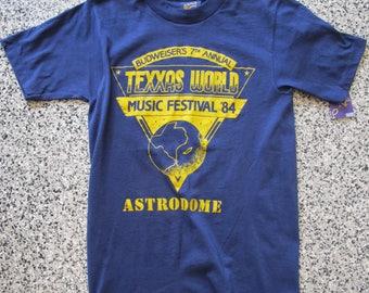 Vintage Vtg 1984 Texxas World Music Fest Rush Ozzy Osbourne Concert Tee XS EUC