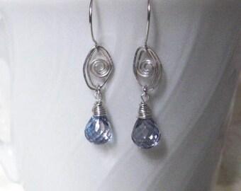 Tanzanite Mystic Quartz Earrings Wire Wrapped