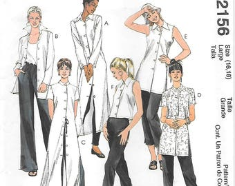 McCalls 2156 UNCUT Asian Inspired Tunic in Three Lengths Sewing Pattern Sizes 16 and 18 Sleeveless Top Standing Collar