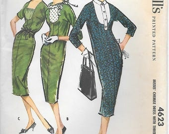McCalls 4623 UNCUT Chemise Dress with Three Dickeys Vintage Sewing Pattern Bust 34 Wiggle Dress
