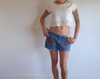 denim shorts // cut off shorts // southwest ikat // slouchy boyfriend shorts // hand painted bkle denim