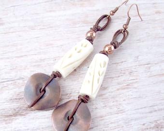 Womens Ethnic Earrings - Womens Tribal Earrings - Bohemian Tribal Earrings - Viking Jewelry - Ancient Earrings - Gypsy Earrings - Boho