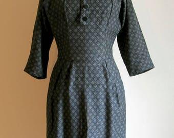 Vintage 50's Charcoal Black and Gray Diamond Pattern Dress
