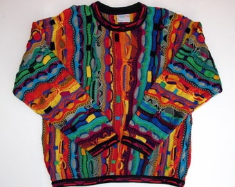 COOGI Australia Sweater XL Cotton Bold Bright Colors 3D Squiggle WILD Pattern, Multicolor Long Sleeve Crew Neck xL, 3D Textured Pullover