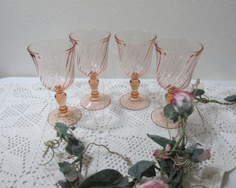 Arcoroc Rosaline Pink Swirl Wine Glasses from France Set of 4