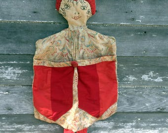 Antique  1920's Red  Laundry Lingerie Bag Embroidered Doll Pajama Doll Boudoir Doll Flapper Girl