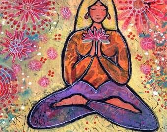 Original Acrylic Yoga Painting Titled Blond Haired Yoga Girl