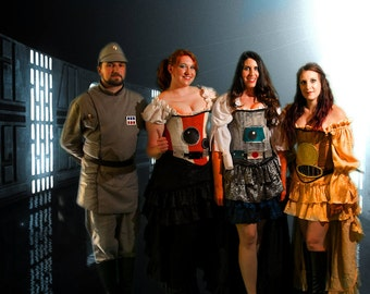 Blue, Silver, and White Astromech Droid Steampunk Corset and Belt, Galaxy Far Away, Steampunk Star Wars Inspired, Pilot, Mechanical