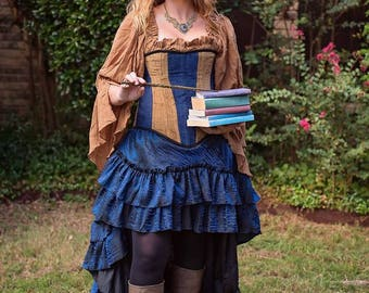 Witch Corset in House Colors Blue and Bronze, Raven, Clever, Smart, Wise, Harry, School of Witchcraft and Wizardry, Potter, Luna, Costume
