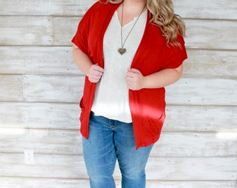 Christmas Cardigan, Red Cardigan, Slouch Cardigan, Womens Cardigans, Short Sleeve Cardigan, Cardigans for Women, Red Sweater, Loose Sweaters