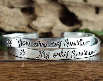 You are my Sunshine Jewelry, Custom Cuff Bracelet, Your are my Sunshine Bracelet, My Only Sunshine Bracelet, Mother Daughter Bracelet Set