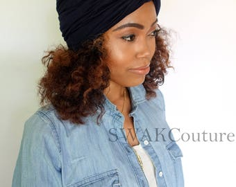 Turban Hat, Navy Blue Turban Cloche, Stretch Cotton Jersey Knot Turban Cap, Womens Hat - Choose Your Color