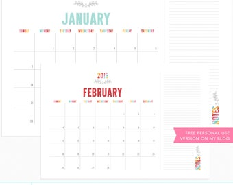 Colorful 2018 BIG Calendar + EURO Digital Templates - instant download - limited commercial use ok