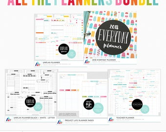 ALL The Planners Bundle - 2018 Everyday Planner, UNplan Planner, Teacher Planner, Project Life Planner - Digital PDF Printables