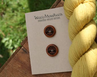 2 Yew Wood Tree Buttons- Oregon Yew Wood- Wooden Buttons- Eco Craft Supplies, Eco Knitting Supplies, Eco Sewing Supplies