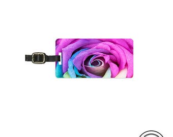 Luggage Tag Rainbow Rose Petal Metal Luggage Tag With Custom Info On Back  Single Tag  Great Gift
