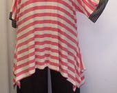 Womens Plus Size Top, Coco and Juan, Lagenlook, Plus Size Tunic, Pink Stripe, Rayon Knit Drape Sides, Tunic Top, One Size Bust to 60 inches