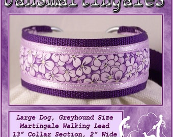 Jansmartingales, Walking Lead, Dog Collar and Lead Combination, Greyhound, Large Dog Size, Pur165