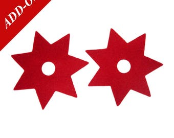 "Felt Ninja Star Magnets - 2-1/8"" Diameter, 1/16"" Thick, 2 Magnets Per Pack, Multiple Colour Options Available, Add-On Item, Locker Kitchen"