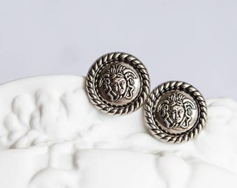 Medusa Gorgon Vintage French Button Stud Earrings Ancient Greek Mythology upcycled silver royal style