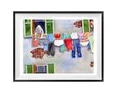 Corde à linge, Art Print, la vente, à linge mural lessive italienne art, illustration, ligne de vêtements, accrocher la peinture à l'aquarelle, aquarelle, des chiffons